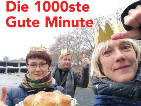 Das Gute-Minute-Team mit Béatrice Eigenmann, Michael Kistler und Anja Eigenmann, mit Kronen und einem Königskuchen.