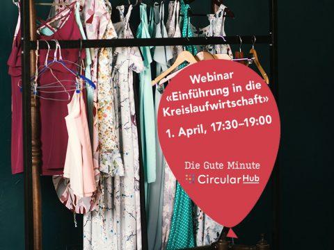 Kleiderständer mit Störer zu Webinar Einführung Kreislaufwirtschaft vom 1. April 2021