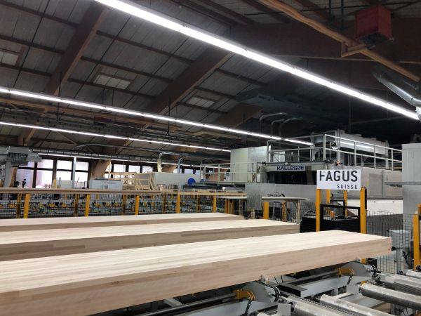 Blick in die Produktionshalle der Fagus Suisse mit Massivholzplatten