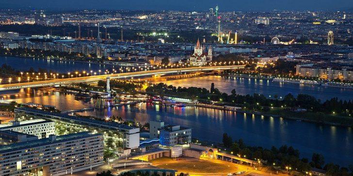 Ansicht Wiens bei Nacht