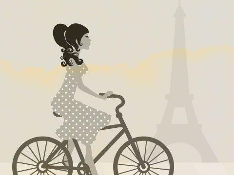 Skizze einer Velofahrerin vor Eiffelturm