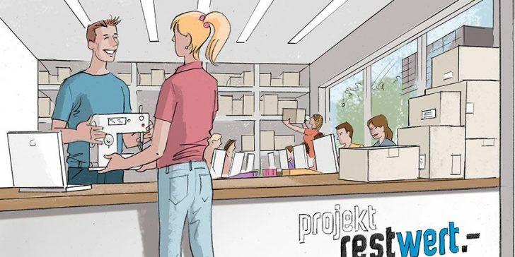 Projekt Restwert: Ein Tresen mit einem Lager hintendran, Verkäufer und Käuferin