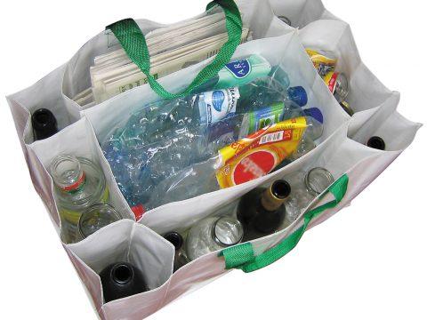 Sack aus Polypropylen mit neun Fächern für die Abfalltrennung