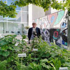 Veranstaltung Essbare Stadt mit Maurice Maggi im Rahmen von Earth Talks des Kunsthauses Zürich: Maurice Maggi vor essbaren Pflanzen.
