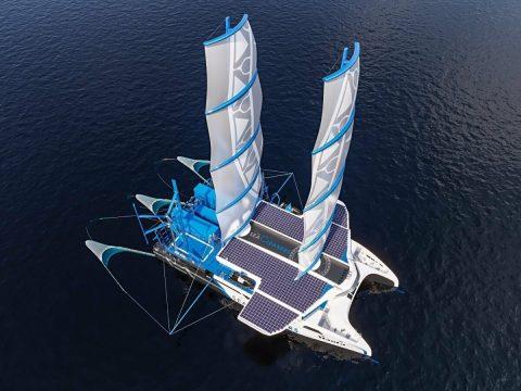 Das Segelboot Manta der Organisation Seacleaners von oben