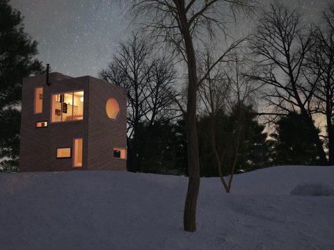 kreislauffähige Kleinwohnform Livo in der Nacht bei Schnee
